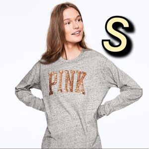 VS PINK Bling Campus Tee Grey S